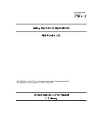 Army Techniques Publication ATP 4-12 Army Container Operations February 2021