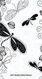 Ebony and Ivory - Paisley Butterflies - 2017 3.5inch x 6.5inch Pocket Planner Calendar